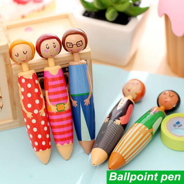 5 pcs/Lot Cute Doll ballpoint pen Blue ink ballpen Stationery Caneta material escolar Office Decoration school supplies 6569