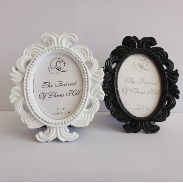White/Black Oval Baroque Place Card Holder Resin Photo Frame Wedding ...