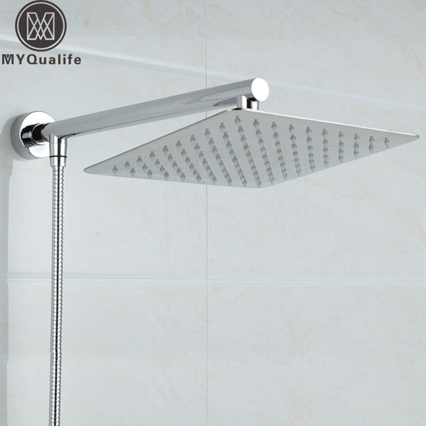 """top popular Wholesale- Free Shipping Chrome Wall Mounted Ultrathin Square 8"""" Shower Head + Brass Shower Arm + 150cm Srainless Steel Shower Hose 2019"""