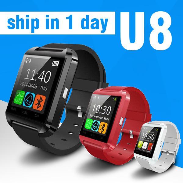Bluetooth U8 Smart Watch Orologi da polso con altimetro per iPhone 4 4S 5 5S Samsung S4 S5 Nota 2 Nota 3 HTC Android Phone In confezione regalo OTH014