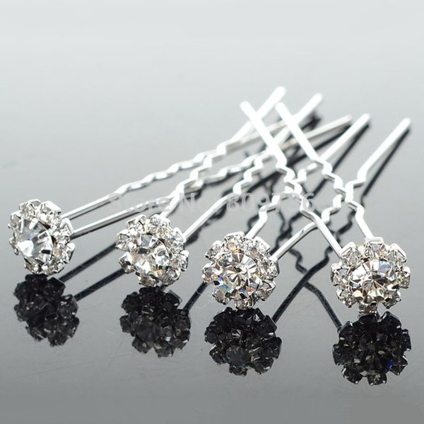 Wholesale 20PCS Chic Flower Clear Crystal Hair Clips Wedding Bridal Pearl Hair Pins Bridesmaid Jewelry Women Hair Accessories