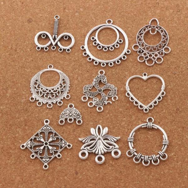 100pcs / lot coeur perles de charme perles en argent antique pendentifs boucles d'oreilles connecteurs pour artisanat de bijoux bricolage LM9