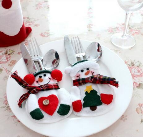 12 Pcs/Lot Xmas Decor Lovely Snowman Kitchen Tableware Holder Pocket Dinner Cutlery Bag Party Christmas table decoration cutlery sets