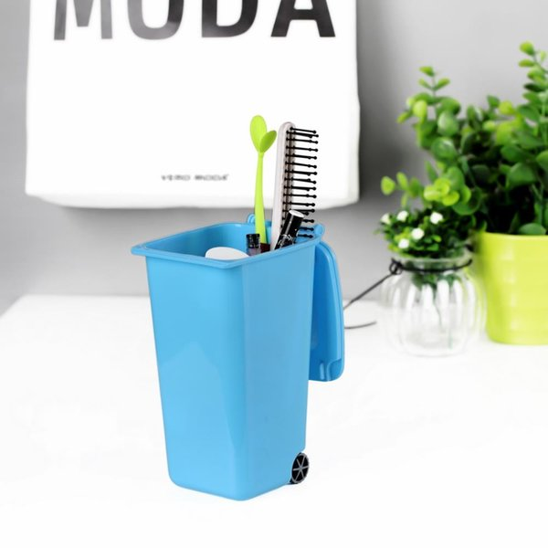 new 1 pcs Mini Wheelie Bin Desk Tidy Office Desktop Stationery Organiser Pen Pencil Holder 4 Colors Drop Shipping