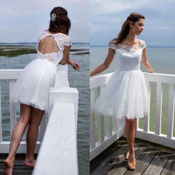 Discount Robe De Mariee 2018 Pretty Short Wedding Dress White Lace ...