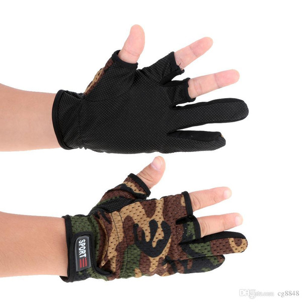 ajustables, sin 3 dedos Guantes para pescar