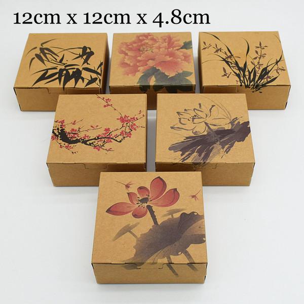 30 unidades / lote Cajas de embalaje de papel Kraft marrón de estilo chino Embalaje para galletas de chocolate Galleta de regalo Caja de papel Caixa Nueva llegada