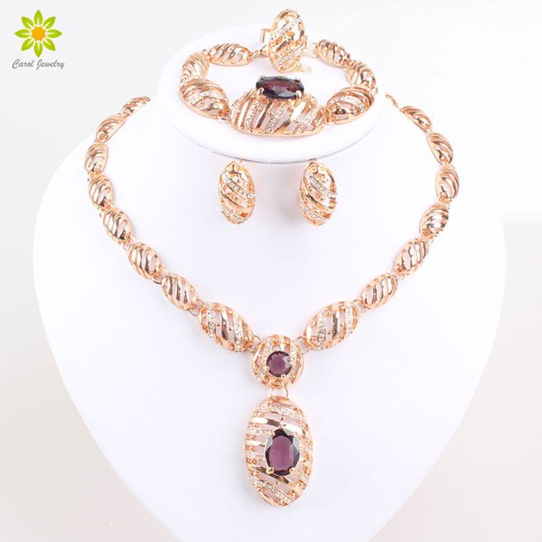 New Design 18K Gold Plated African Costume Fashion Necklace Set Vintage Purple Zircon Charm Women Party Gifts Jewelry Sets