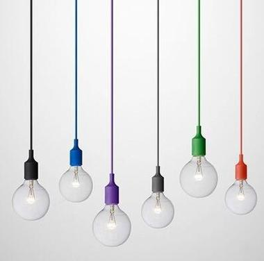Art Decor Silicone E27 Pendant Lamp Ceiling light bulb Holder Hanging lighting Fixture base Socket Modern silica gel retro Colorful light