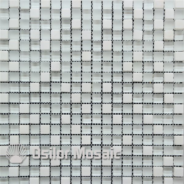 white glass mosaic tile mixed stones for interior house decoration bathroom and kitchen wall tile floor tile 8mm thickness