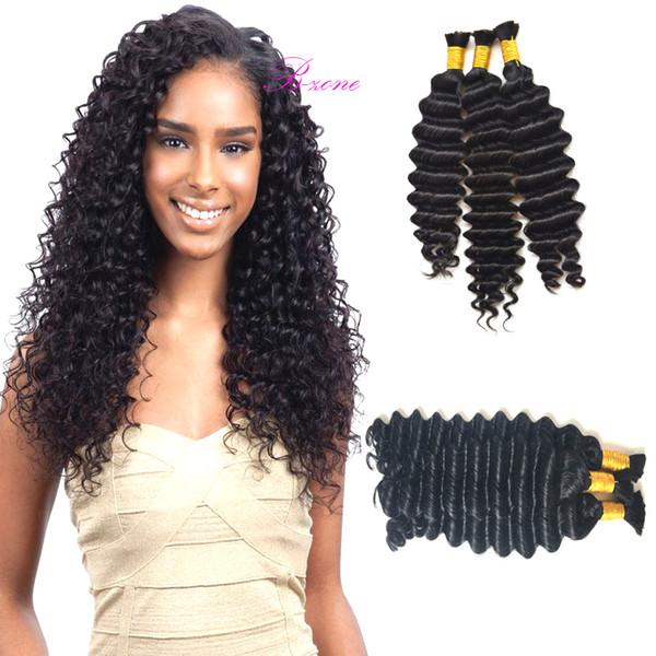 best selling Wholesale Human Hair Bulk In Factory Price 3 or 4 Bundles Brazilian Deep Wave Bulk Hair For Braiding Cheap Crochet Human Hair No Weft