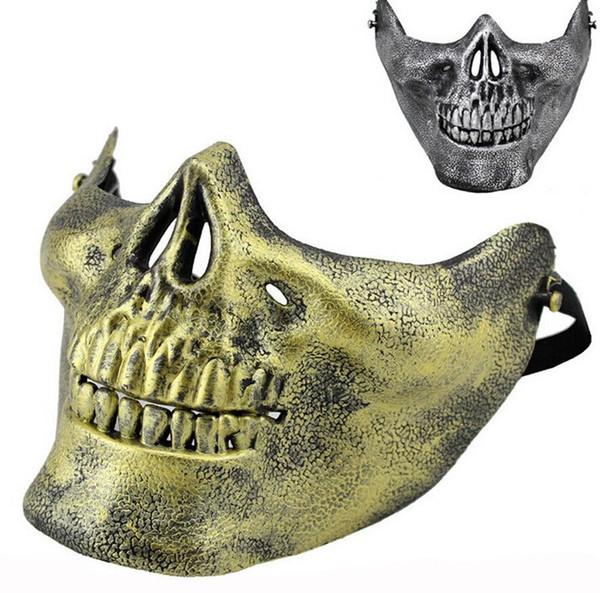 Diversión Paintball Máscaras de Airsoft de PVC Scary Skeleton Skull Mask Juegos de CS de protección Carnaval de Halloween Año Nuevo de alta calidad 5 colores