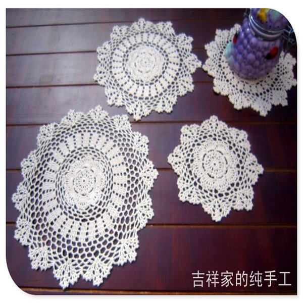 Wholesale- free shipping 20-38cm 12 pic/lot cotton crochet lace doilies for home decor felt for wedding cup pads placemat napkin mat felt