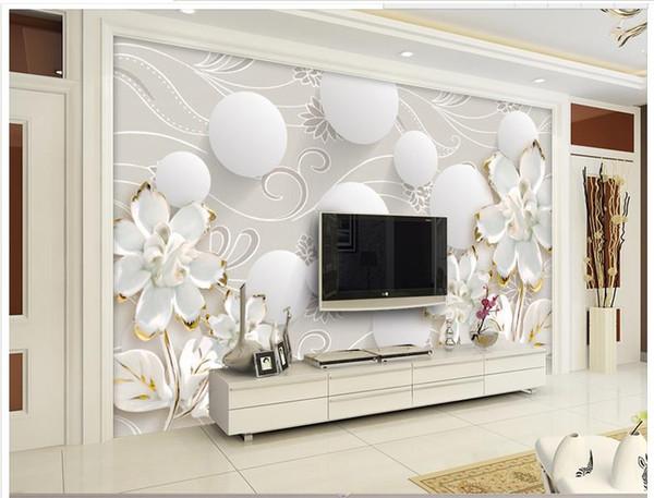 Großhandel High End Custom 3D Fototapete Wandbilder Tapeten 3D Kreis Muster  Weiße Blumen 3D Wohnzimmer Tapete Hintergrund Wand Wohnkultur Von ...