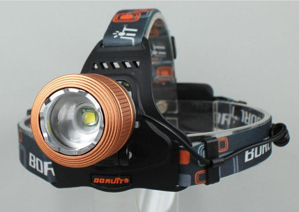 Bright Boruit 2000Lumen Cree Xm-l T6 LED Rechargeable Headlamp Headlight Head Torch 18650 Zoom lens accessories AC Charger