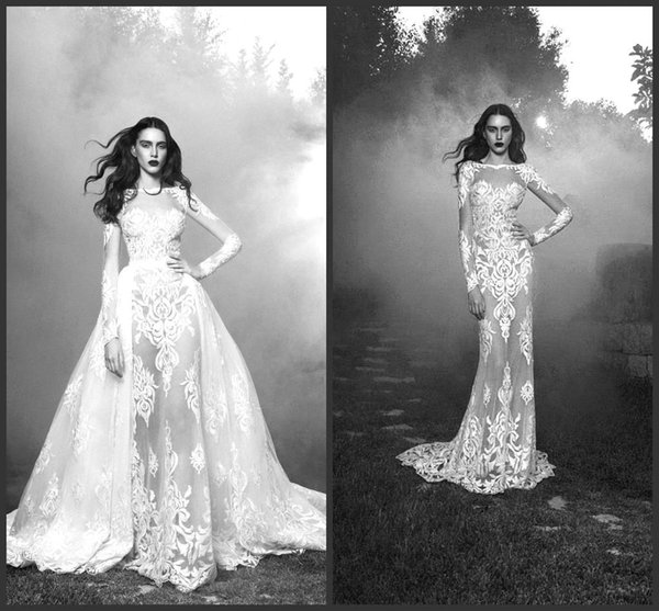 Zuhair Murad vestidos de novia Sheer Jewel Sheer mangas largas de encaje apliques de longitud del piso vestidos de novia personalizados BO9687
