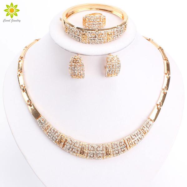 Luxury Crystal Chunky Necklace And Bangle Sets Designer Vintage