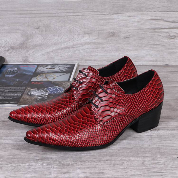 Hot Selling Designer Luxury Mens Red Dress Shoes Shoes Fashion Python Snake Pattern Lacing Up Leather Shoes Mens Party Shoes