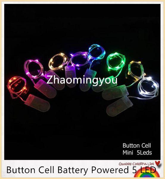 YON Button Cell Battery Powered 2m 20LED Color Plata Alambre de Cobre Mini Luces de Cadena de Hadas Para el Banquete de Boda de Navidad de vacaciones 8 colores