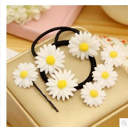 Promotional 50PCS daisy flower Hair Ties Simple Style Elastic Holder Headbands hair clip for women and gilrs free shipping