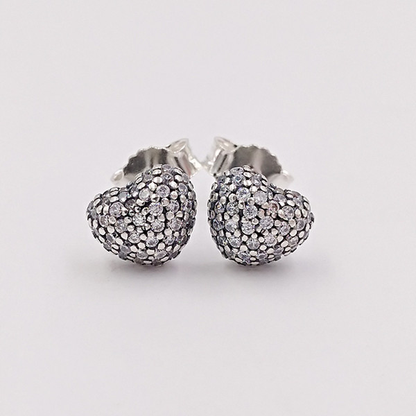 e35a59897aad9 2019 Authentic 925 Sterling Silver Studs Silver In My Heart Earring Stud  With Clear Cz Fits European Pandora Style Jewelry From Andy_jewel, $9.53 |  ...