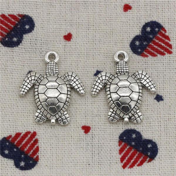 72pcs Charms tortoise turtle sea 26*23mm Pendant,Vintage Tibetan Silver,For DIY Necklace&Bracelets Jewelry Accessories