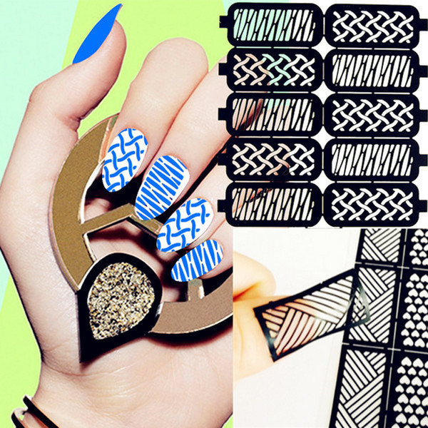 new beauty nail wrap sticker full nail art hollow template stickers