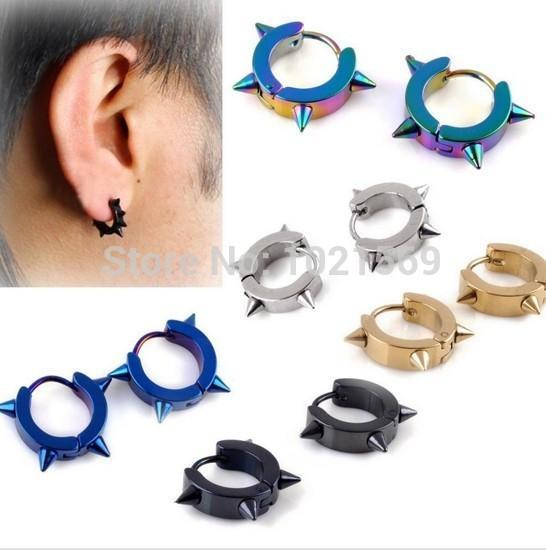 Fashion 5 Styles Rock Punk Gothic Style Mens Stainless Steel Taper Hoop Spike Stud Earrings