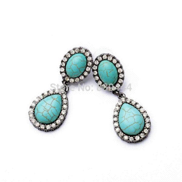2014 New Vintage Hot Design Fashion Gem Stone Turquoise Lady Drop Earrings Jewelry earrings swarovski earrings triangle