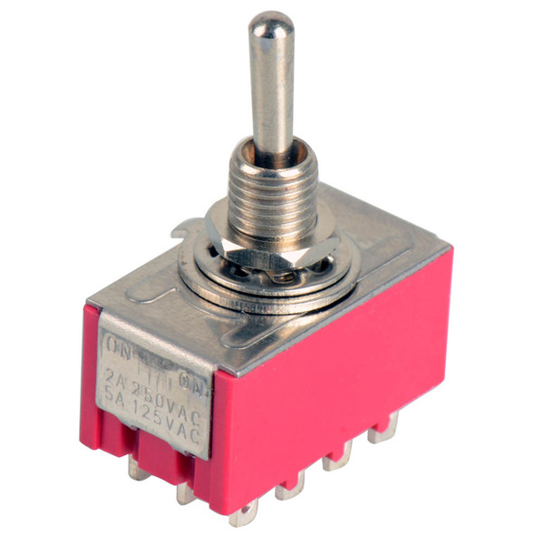 best selling 1Pc 12-Pin Mini Toggle Switch 4PDT 2 Position ON-ON 2A250V 5A125VAC MTS-402 B00021 BARD