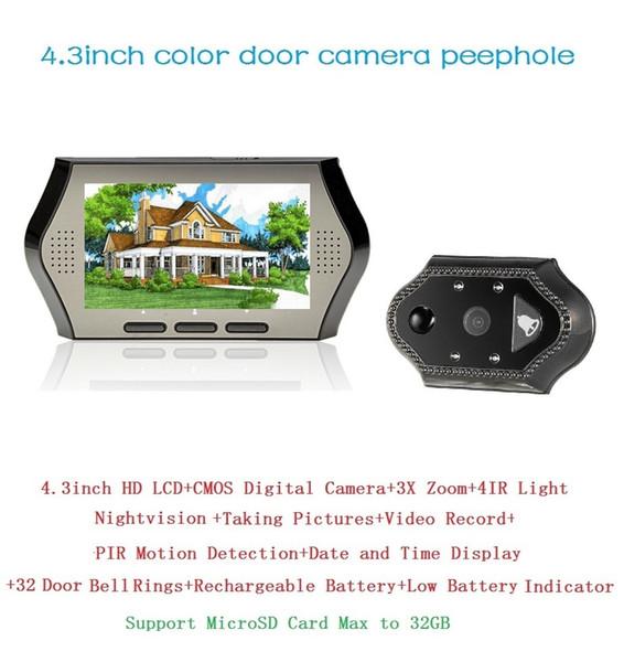 Video Peephole door camera Multi-language 4.3inch LCD 0.3 Megapixels camera IR night vision PIR Motion Detection 32 Rings 3X Zoom