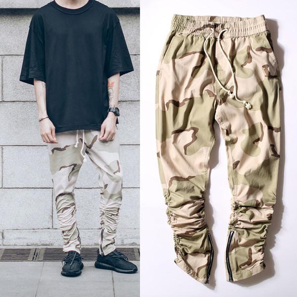 kanye west Desert camouflage men Jogging Pants Rubber elastic pants feet zipper casual pants Overalls Beam foot trousers