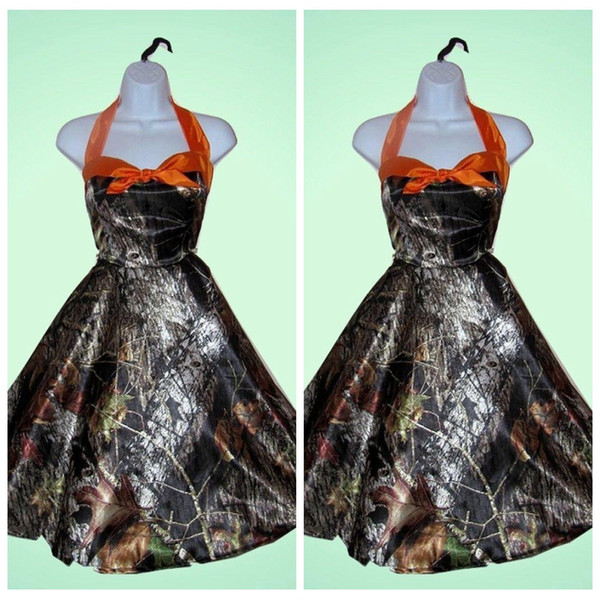 Real Pictures A Line Camo Bridesmaid Dresses Short Camouflage Formal