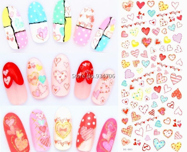 Wholesale- DS063 DIY Water Transfer Foils Nail Art Sticker Fashion Nails Colorful Love Manicure Decals Minx Cute Nail Decorations Tools