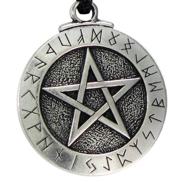 New Punk Norse Viking Anhänger Halskette Große Rune Pentacle Anhänger Pentagramm Schmuck Wicca Halskette Norse Pagan Runes