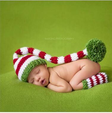 Рождество ребенок зеленый красный длинный хвост помпон шляпа 2016 новорожденный ребенок рождественские шапки дети длинный хвост handknit шляпы Holloween крючком шапки CD 001