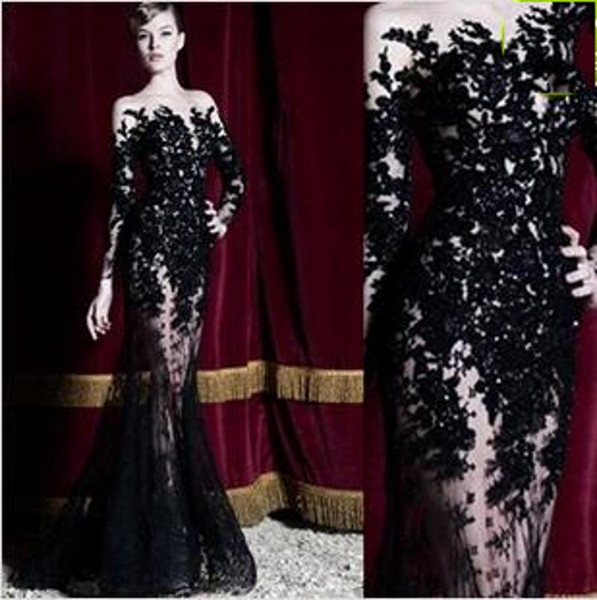 2018 New Evening Dresses Long Sleeves Black Lace Sheath Long Sheer Prom Party Gowns Long Floor Length Special Occasion Dubai Dress 160