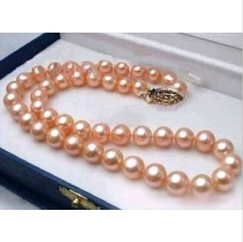 10-11MM REAL SOUTH SEA PINK PEARL NECKLACE 18 INCH 14k YELLOW GOLD CLASP @