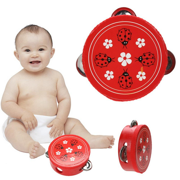 Educational Cartoon Wooden Baby Hand Drum Toys Musical Tambourine Beat Instrument Handbell Baby Infant Gift Toy