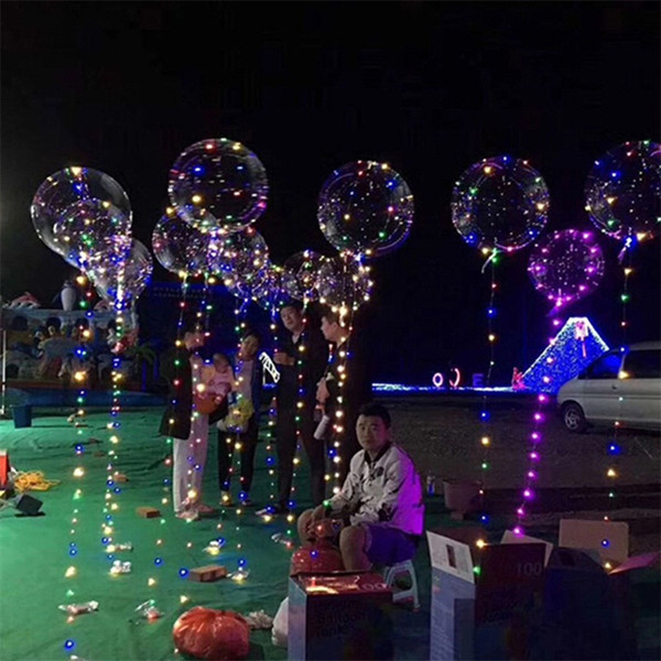 18 인치 핸들 주도 풍선 발광 투명 헬륨 보보 풍선 결혼식 생일 파티 장식 키즈 LED 빛 풍선 DHL