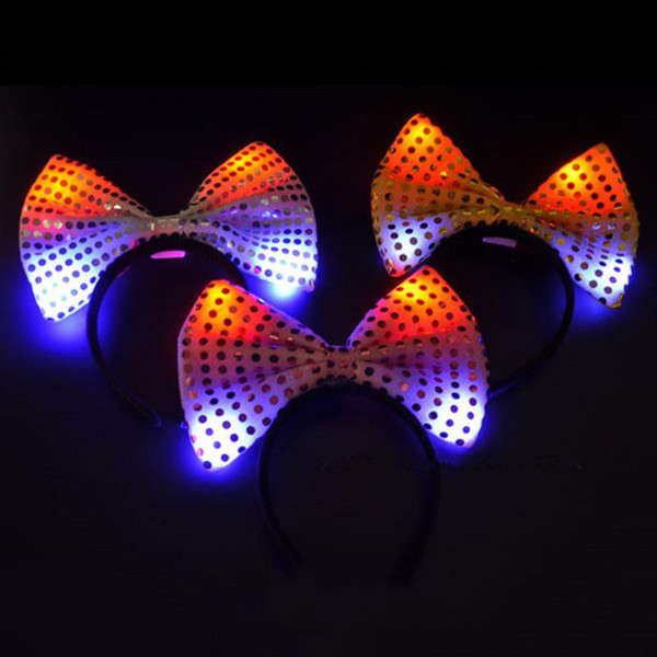 3Pcs/Lot LED Light Luminous Rabbit Ears Flashing Bunny Ears Headdress Head Hair Bowknot Newly Style Dressup Blinking Head band