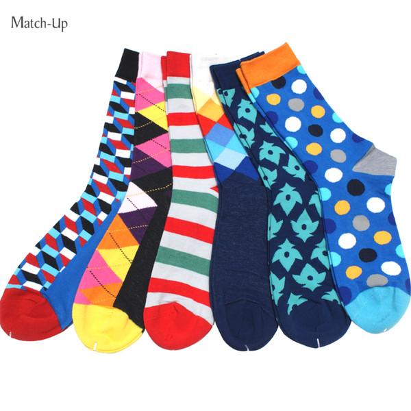 New Styles Happy socks Men's colorful combed cotton socks wedding gift socks (6pairs/lot )