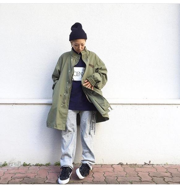 Yüksek sokak sıcak Ceket Kalça HopWinter Ceket Erkekler Coat moda Casual ceketler palto kanye west Siyah / Yeşil uzun askeri tarzı