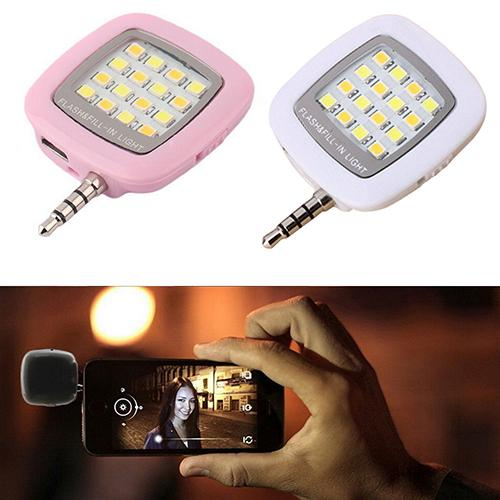Wholesale-2016 3.5mm Jack Smart Selfie 16 LED Camera Flash Light For IOS Android FOR iPhone 5s 6 6Plus 6S92