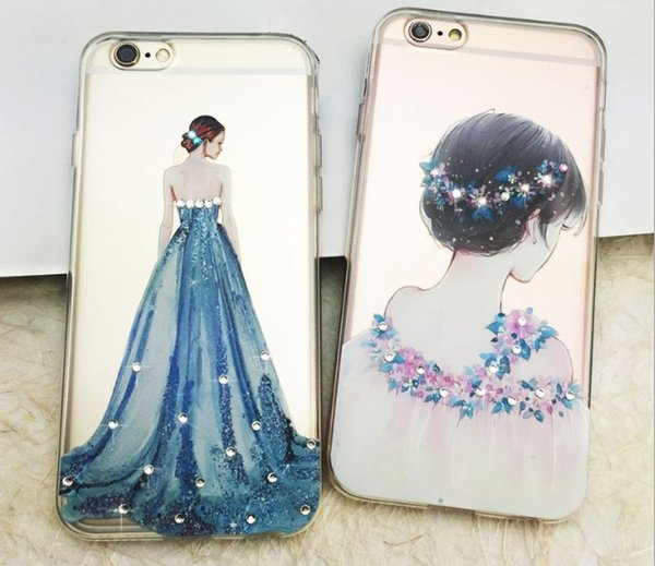 Rhinestone TPU phone case for iphone 7 6 6s plus 5s p9 vivo x7 x6 diamond defender cover case lace design protector case fashion GZ138