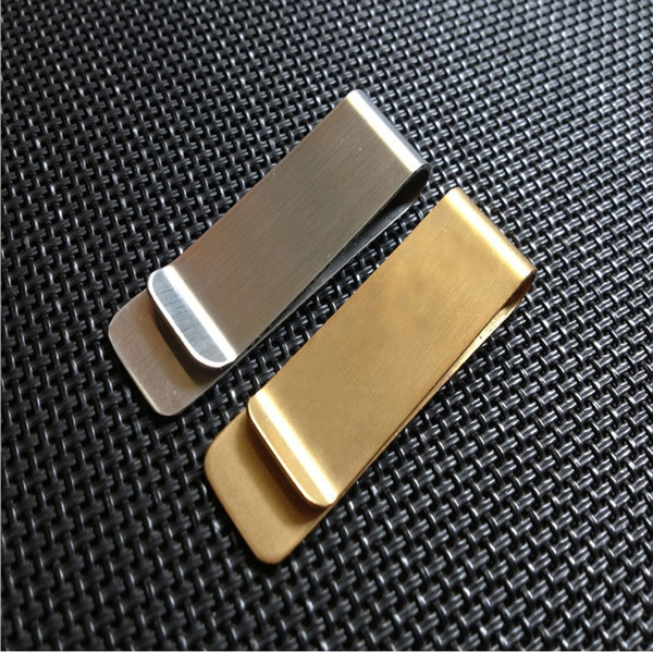 best selling Stainless Steel Brass Money Clipper Slim Money Wallet Clip Clamp Card Holder Credit Name Card Holder 20x52mm ZA4915