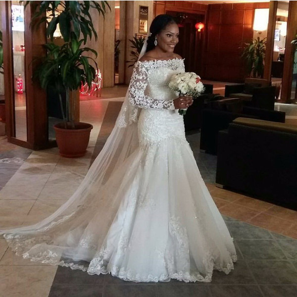 best selling African 2019 Sexy Mermaid Wedding Dresses Long Sleeveless Off Shoulder Modest Lace Appliques Beads Bridal Gowns Court Train Free Veil