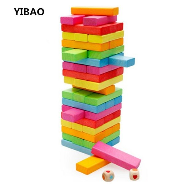 2017 New Jenga Wooden Tower Wood Building Blocks Toy Domino 54pcs +4pcs Stacker Extract Building Educational Game Gift for kids