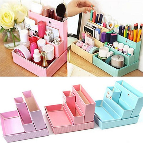 Wholesale-DIY Paper Board Storage Box Desk Decor Stationery Makeup Cosmetic Organizer New Pen Holder