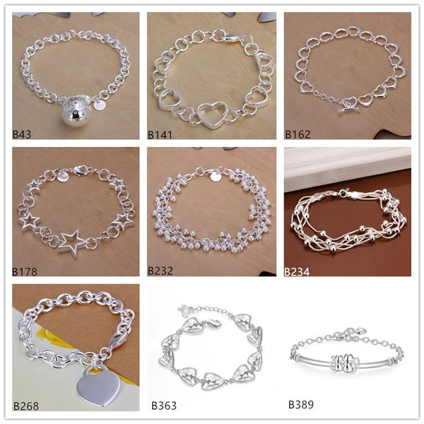 8 pieces a lot mixed style fashion burst models women's sterling silver Bracelet,Hanging ball hollow heart star 925 silver Bracelet EMB5